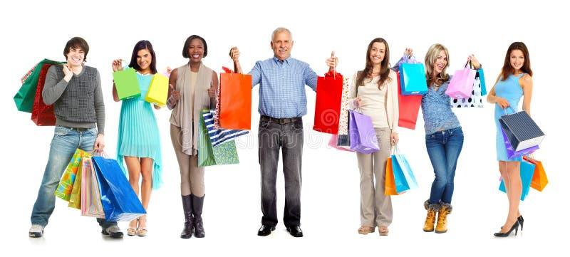 Grupo de clientes de las compras imagenes de archivo