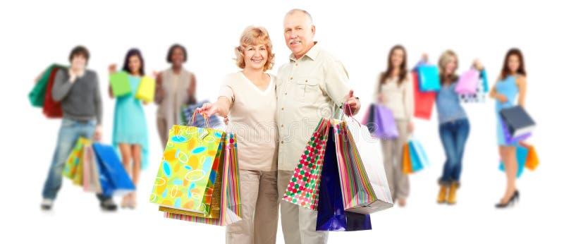 Grupo de clientes de las compras fotografía de archivo libre de regalías