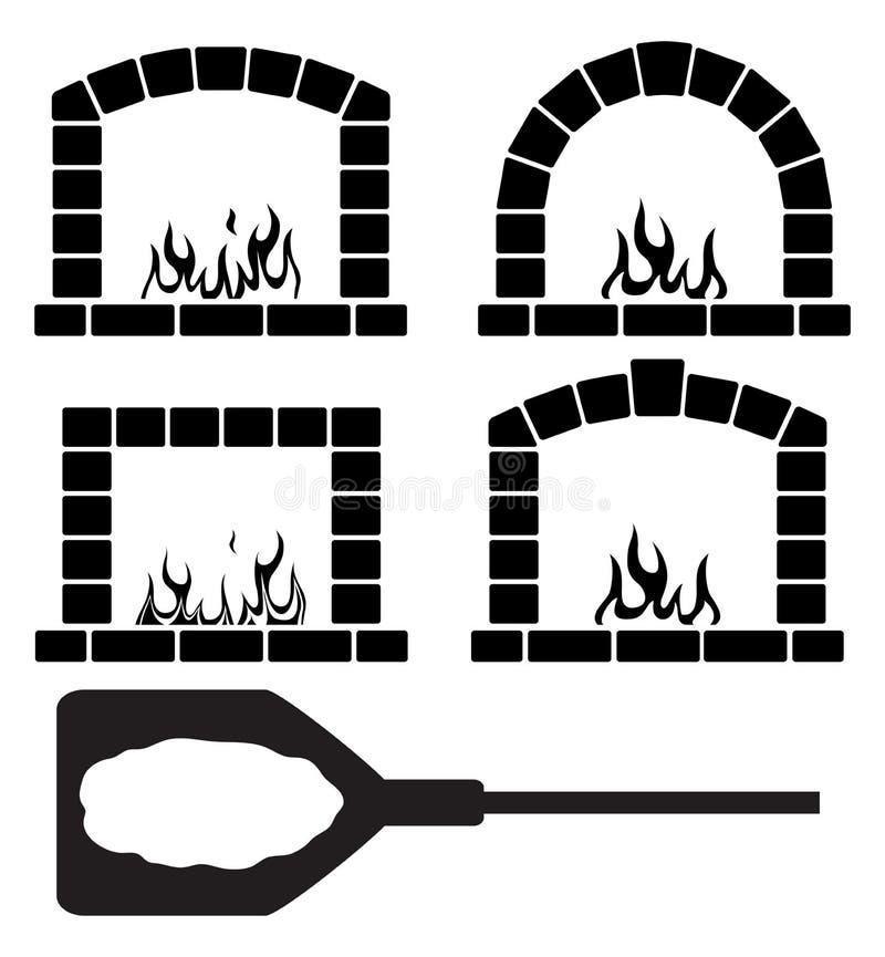 Grupo de Clipart de fornos com fogo e pizza ardentes ilustração stock