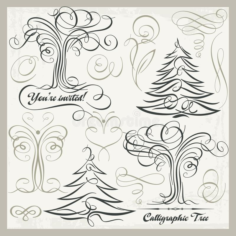 Grupo de Clipart dos elementos do projeto da borboleta da árvore da caligrafia, ilustração royalty free
