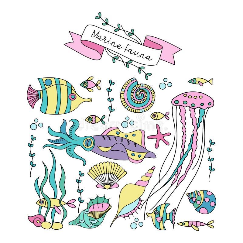 Grupo de clipart Vida marinha Peixes, calamar, medusa, algas, corais, estrela do mar, shell Ilustração do vetor ilustração stock