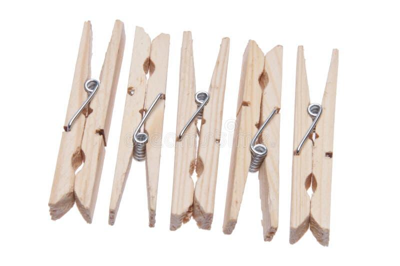 Grupo de Clothespins de madeira foto de stock royalty free
