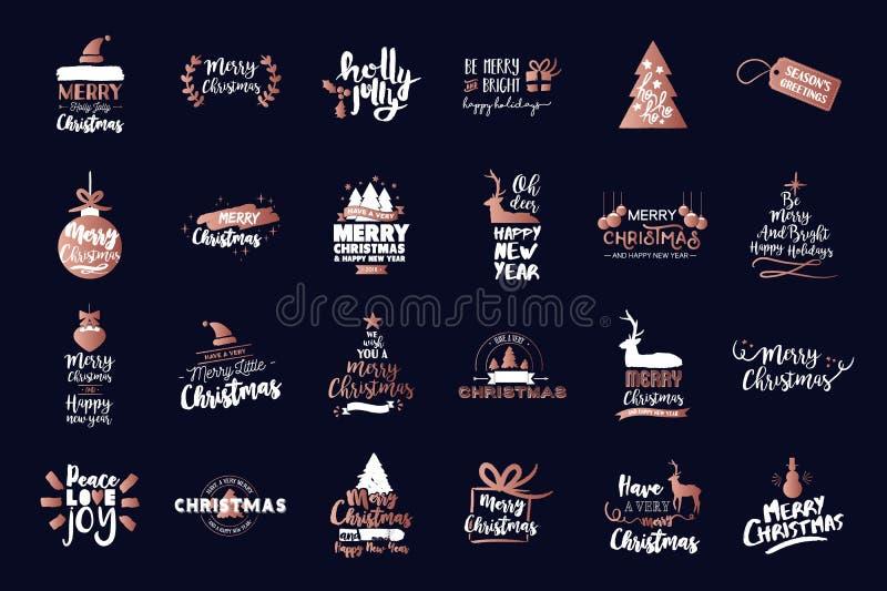 Grupo de cobre luxuoso das citações do texto do Feliz Natal ilustração royalty free