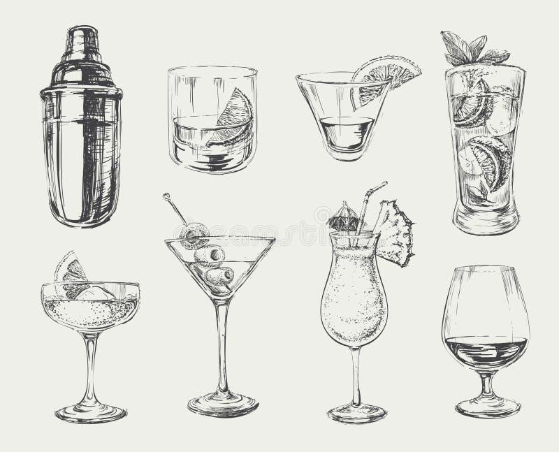Grupo de cocktail do esboço e de bebidas do álcool ilustração stock