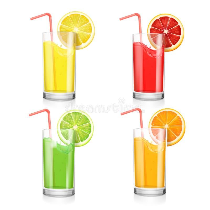 Grupo de cocktail do suco de fruto em um vidro Laranja, limão, toranja e cal ilustração royalty free