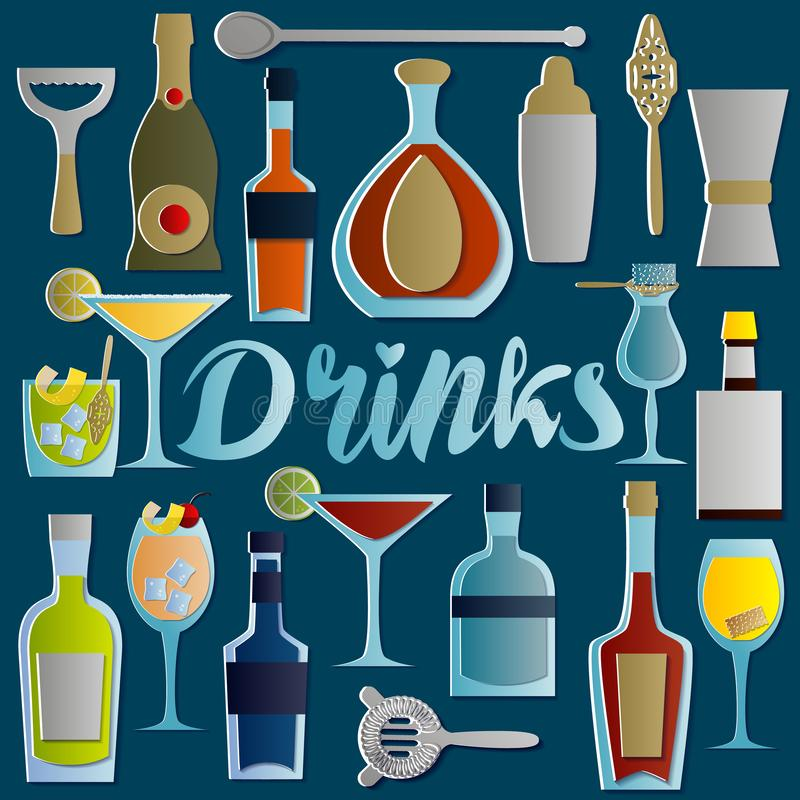 Grupo de cocktail e de bebidas alcoólicos no estilo cortado de papel Objetos isolados no fundo azul ilustração do vetor