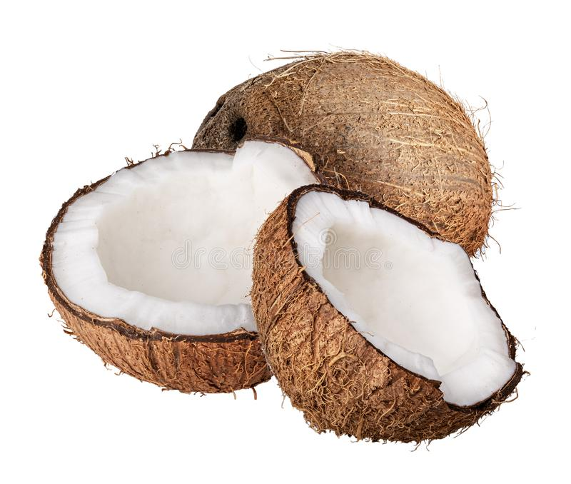 Grupo de cocos aislados en el fondo blanco Trayectoria de recortes fotos de archivo