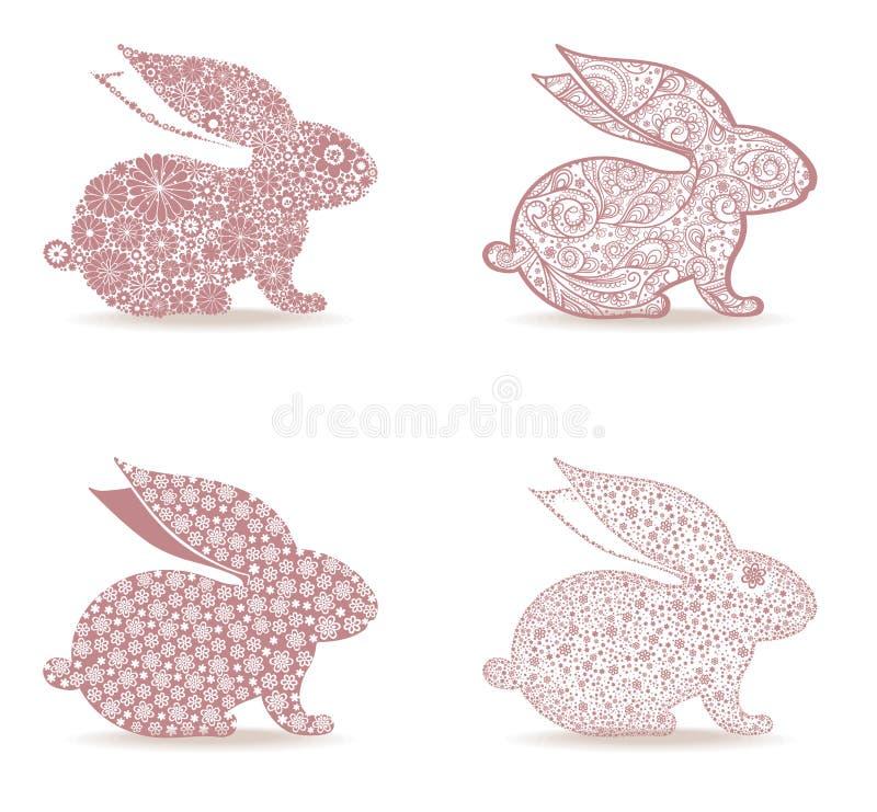 Grupo de coelhinho da Páscoa decorado ilustração do vetor