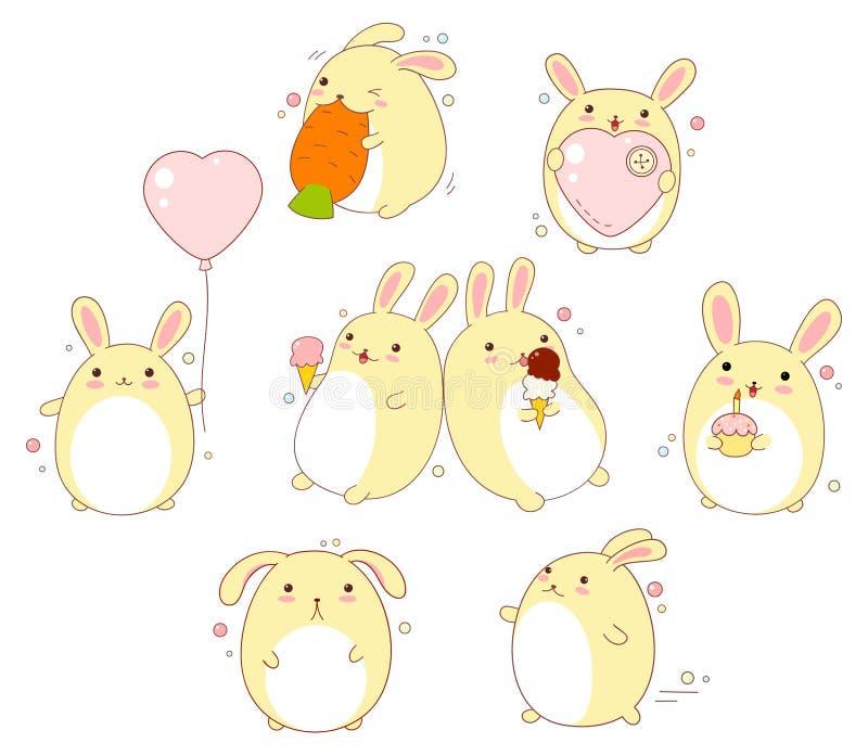 Grupo de coelhos bonitos no estilo do kawaii ilustração do vetor