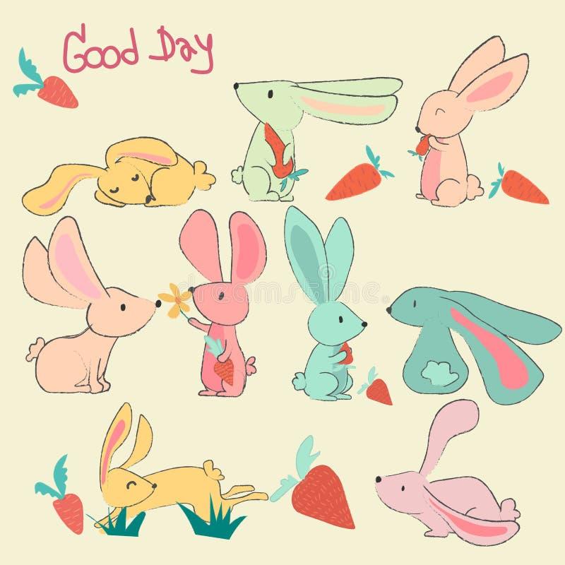 Grupo de coelhos bonitos pasteis tirados mão da garatuja ilustração royalty free