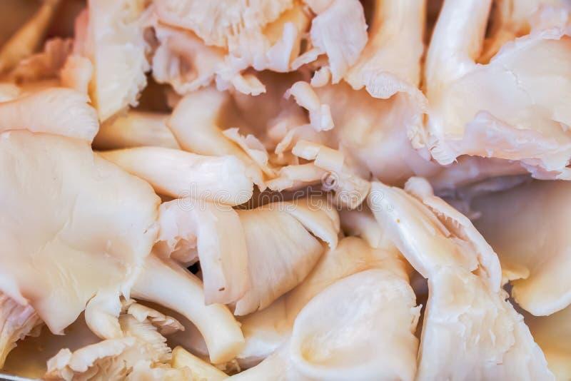 Grupo de cogumelos cortados prontos para cozinhar imagens de stock royalty free