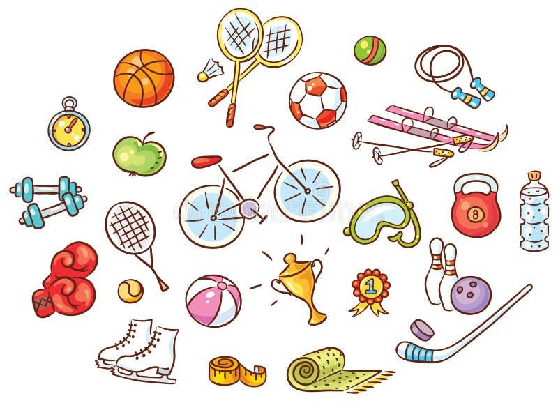 Grupo de coisas coloridas do esporte dos desenhos animados ilustração royalty free