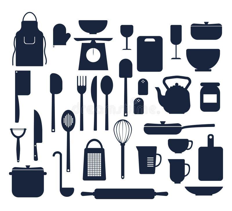 Grupo de coisas da cozinha que cozinham a silhueta dos ícones ilustração royalty free