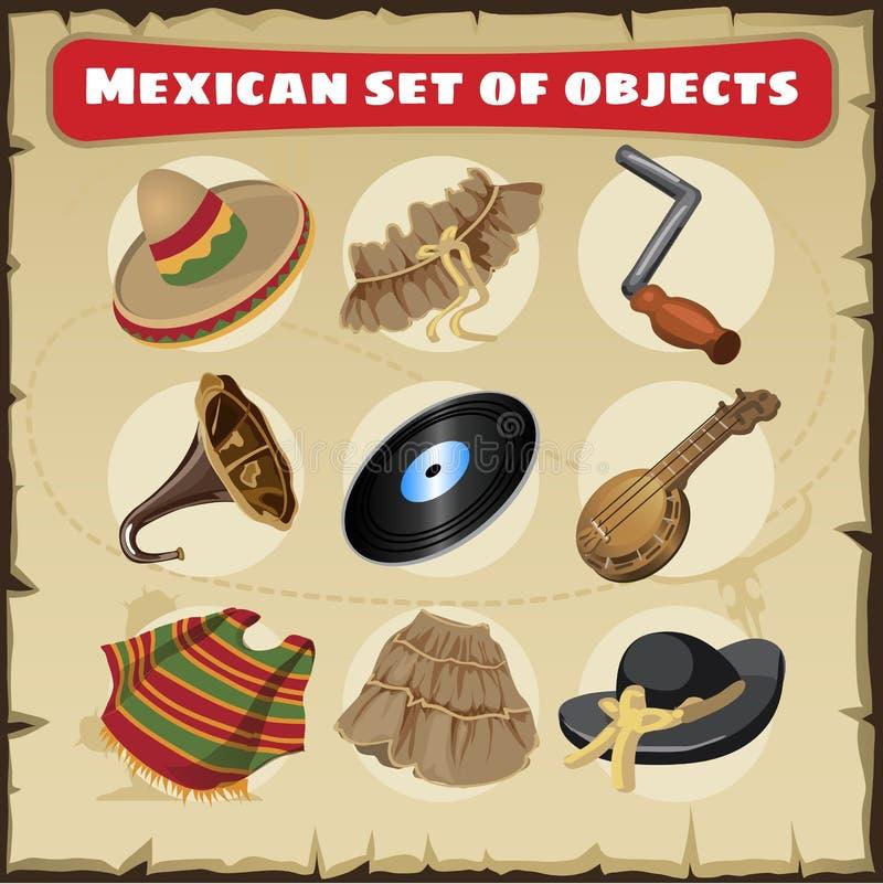 Grupo de coisas mexicanas tradicionais ilustração stock