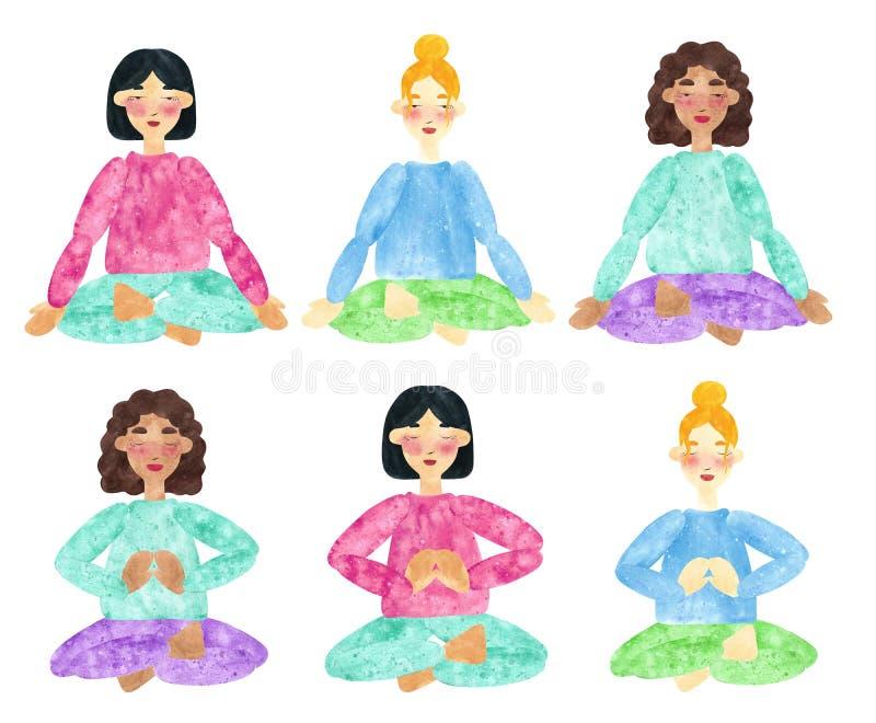 Grupo de colagens tiradas mão da aquarela das meninas com cabelo escuro e louro e tons de pele diferentes, fazendo a pose da ioga ilustração stock