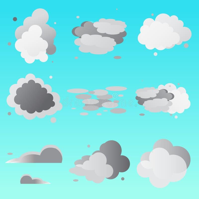 Grupo de coleção das nuvens ilustração royalty free