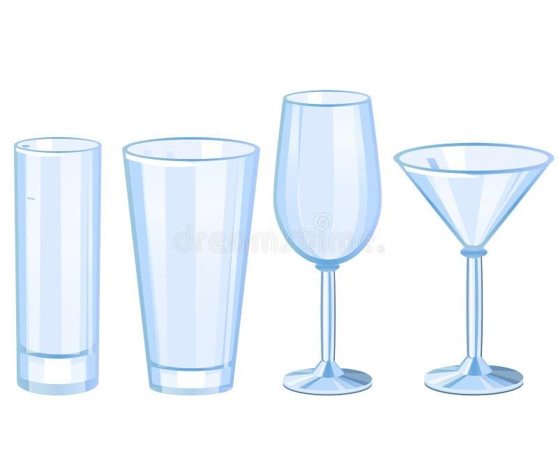 Grupo de coleção dos vidros de cocktail ilustração stock