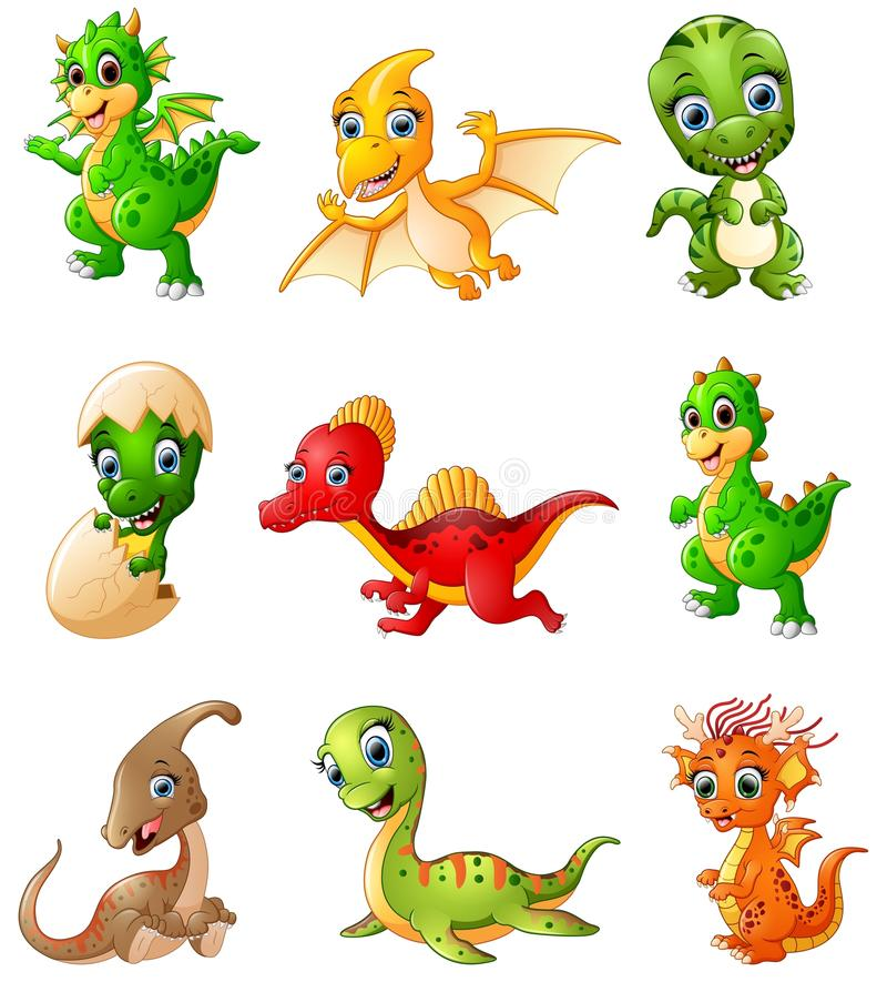 Grupo de coleções dos dinossauros dos desenhos animados ilustração royalty free