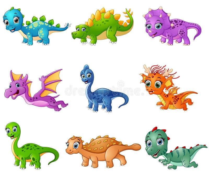 Grupo de coleções dos dinossauros dos desenhos animados ilustração do vetor