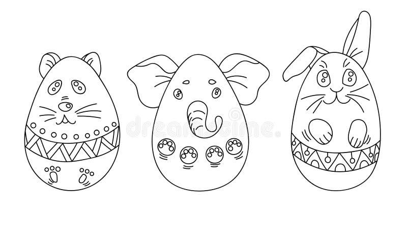 Grupo de coloração com ovos da páscoa em uma forma dos animais com ornamento ilustração do vetor