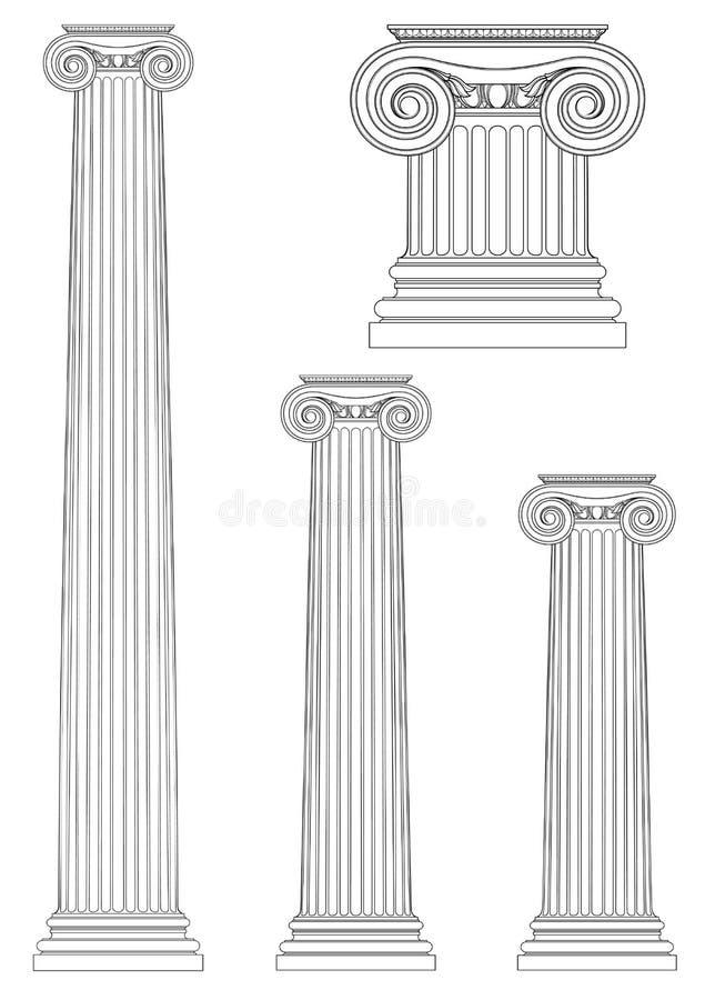 Grupo de coluna iônica, desenho do vetor ilustração stock