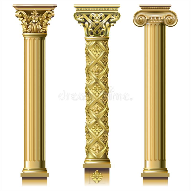 Grupo de colunas clássicas do ouro ilustração do vetor