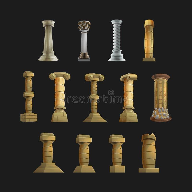 Grupo de colunas dos desenhos animados dos ícones para o interior e o exterior Ilustração do vetor ilustração royalty free
