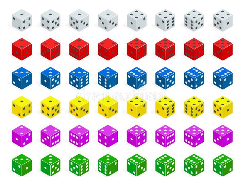 Grupo de combinação isométrica dos dados O pôquer branco, vermelho, amarelo, verde, azul e roxo cuba o vetor isolado ilustração royalty free