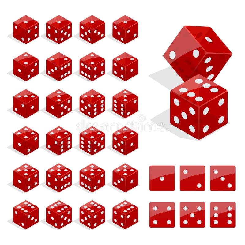 Grupo de combinação isométrica dos dados O pôquer vermelho cuba o vetor isolado Coleção de jogar o app e o molde do casino ilustração do vetor
