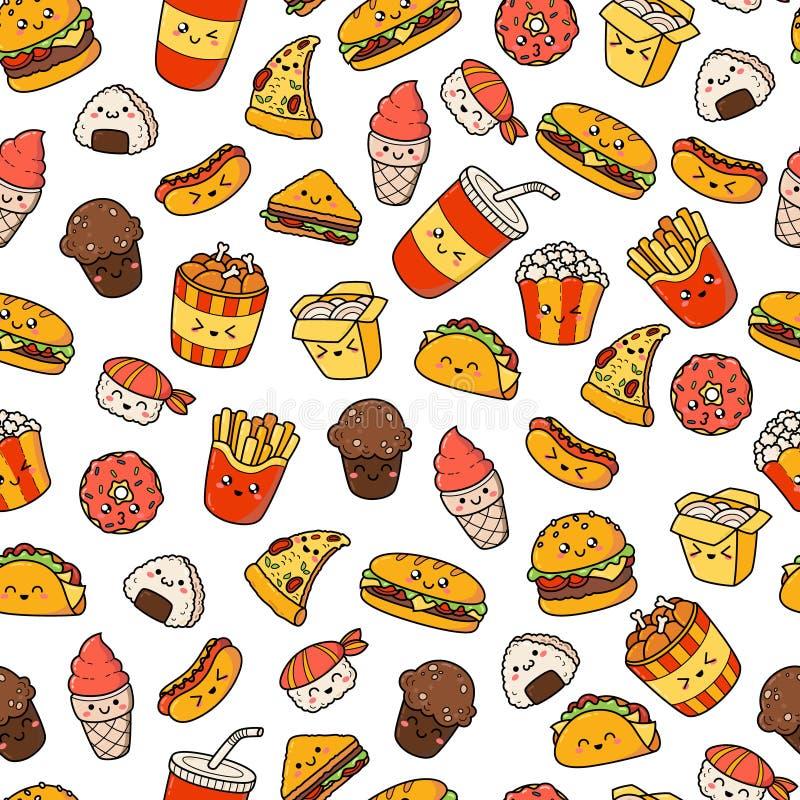 Grupo de comida lixo dos ícones da garatuja dos desenhos animados do vetor Ilustração do fast food cômico Textura sem emenda, tes ilustração do vetor