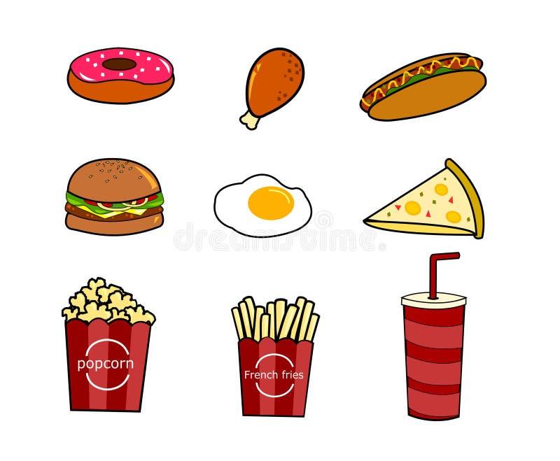 Grupo de comida lixo dos ?cones da garatuja dos desenhos animados do vetor ilustração do vetor
