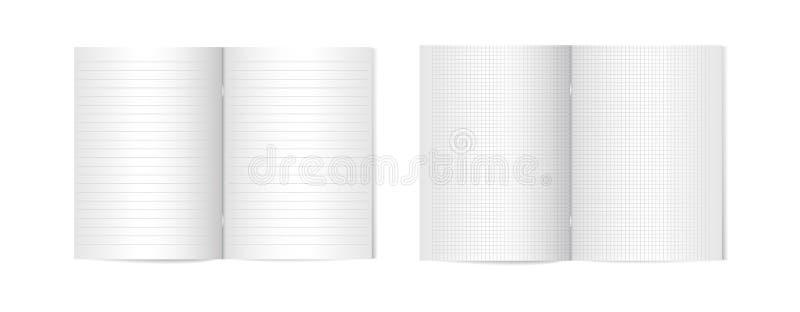 Grupo de compartimentos verticais Opened com molde de prata metálico da braçadeira, do folheto ou do caderno no fundo branco ilus ilustração royalty free