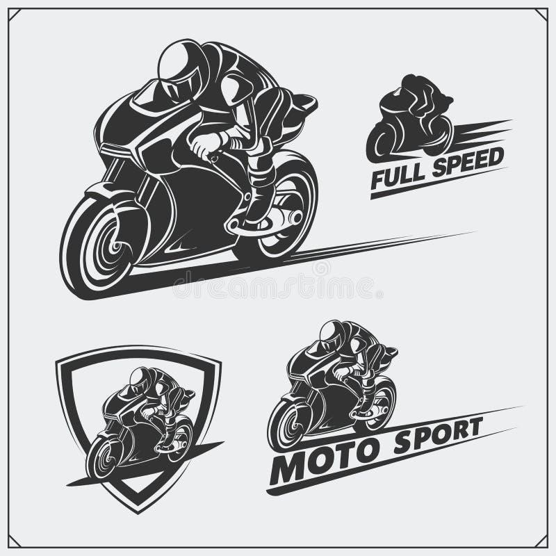 Grupo de competir emblemas da motocicleta, crachás, etiquetas e elementos do projeto ilustração stock