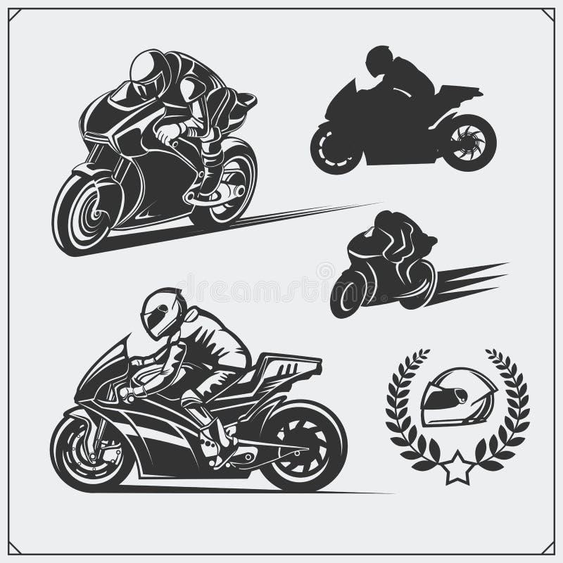 Grupo de competir emblemas da motocicleta, crachás, etiquetas e elementos do projeto ilustração do vetor