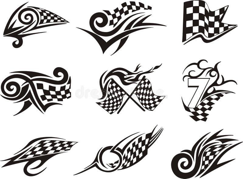 Grupo de competir tatuagens com bandeiras checkered ilustração royalty free