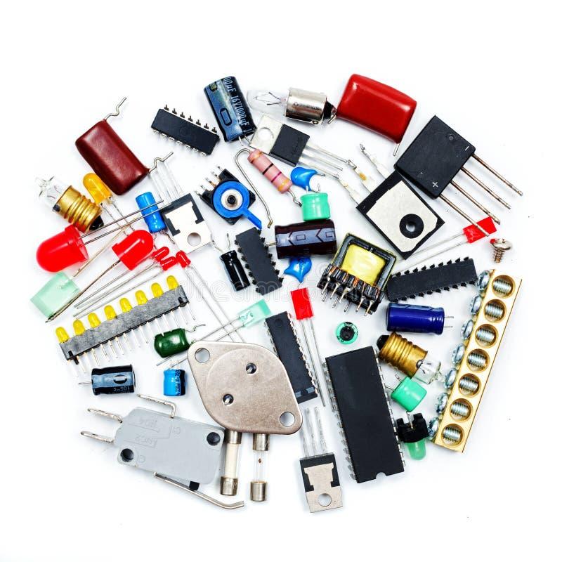 Grupo de componentes eletrônicos imagem de stock royalty free