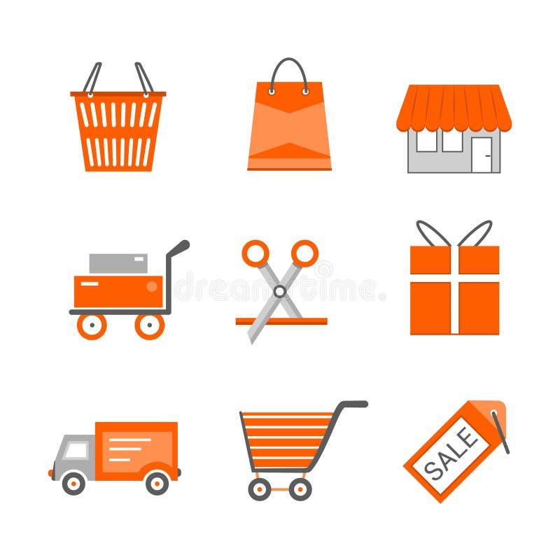 Grupo de compra e de ícones lisos varejos do vetor Carrinho de compras do transporte do presente da cesta da etiqueta do disconto ilustração do vetor