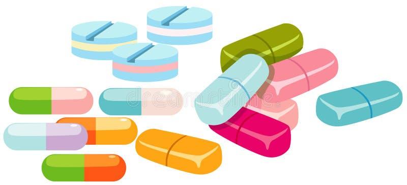 Grupo de comprimidos ilustração do vetor