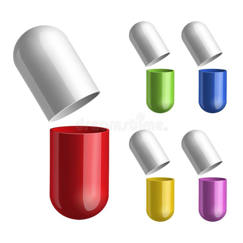 Grupo de comprimidos abertos em dois halfs ilustração stock