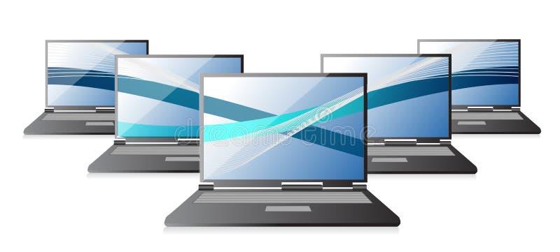 Grupo de computadores de portáteis com ondas, ilustração stock