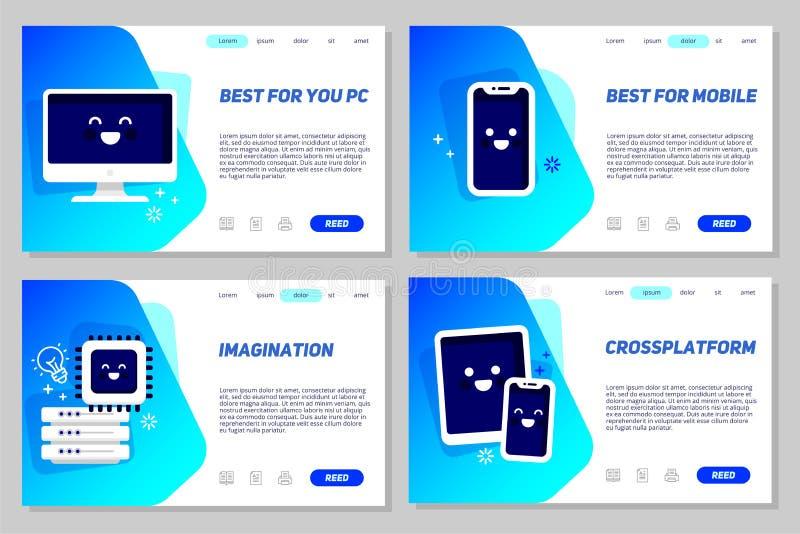 Grupo de conceito criativo do molde da Web para a página de aterrissagem, o Web site ou o desenvolvimento móvel do Web site Ilust ilustração stock