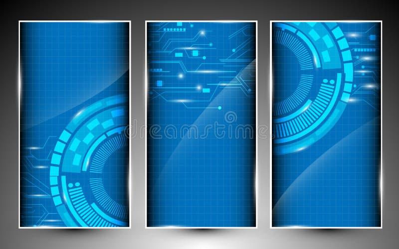 Grupo de conceito da tecnologia digital de 3 bandeiras ilustração royalty free