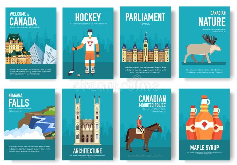 Grupo de conceito da viagem do curso do ornamento do país de Canadá Arte tradicional, compartimento, livro, cartaz, sumário, band ilustração royalty free
