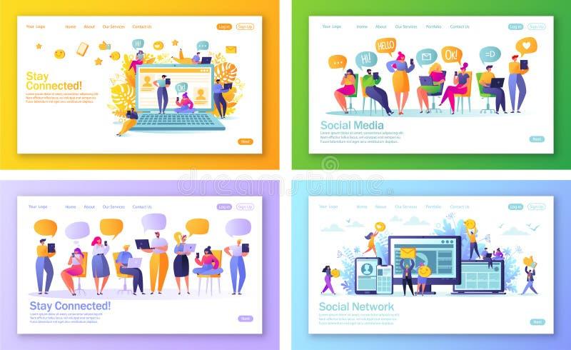Grupo de conceito de p?ginas de aterrissagem no tema social dos meios para o desenvolvimento do Web site e o projeto m?veis do p? ilustração royalty free