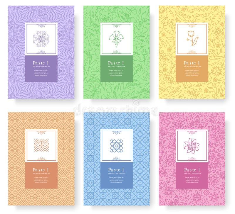 Grupo de conceito pastel linear do estilo Esboce o elemento no cartaz, livro, sumário da disposição, compartimentos, folheto Flor ilustração do vetor