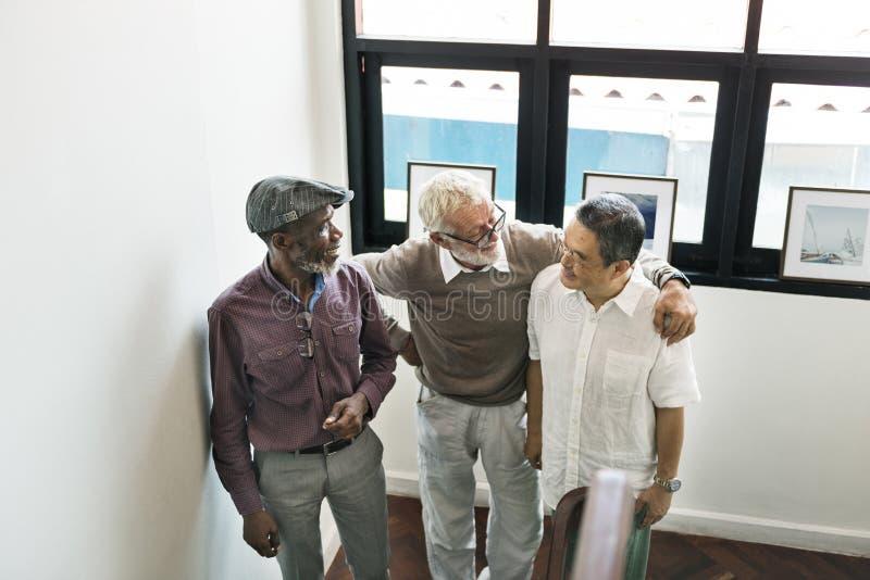 Grupo de conceito superior da discussão da aposentadoria imagem de stock