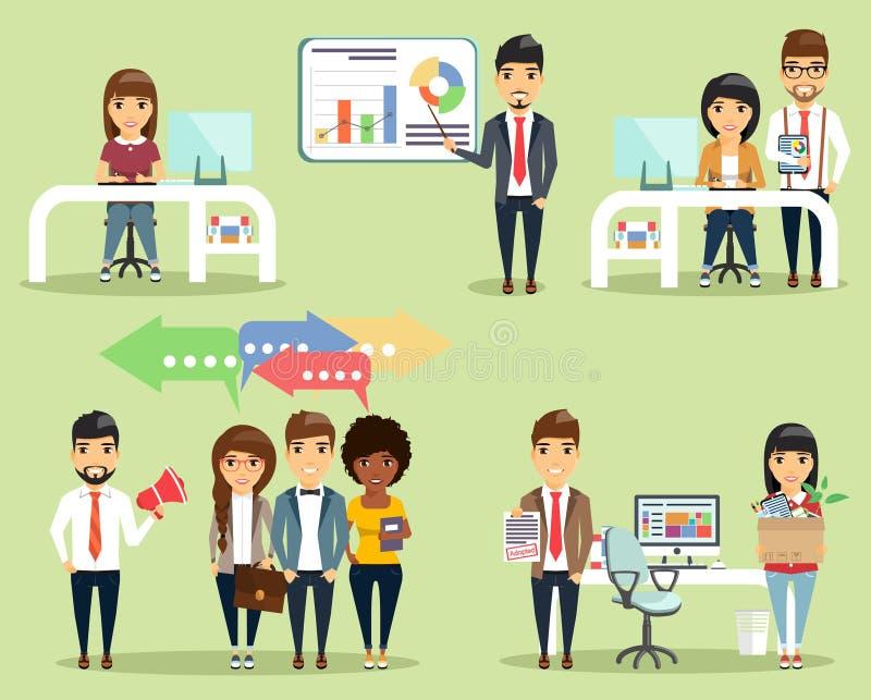 Grupo de conceitos da vida do escritório ilustração stock