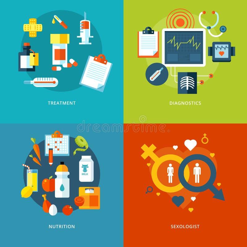 Grupo de conceitos de projeto lisos para ícones médicos para apps e o design web móveis ilustração do vetor