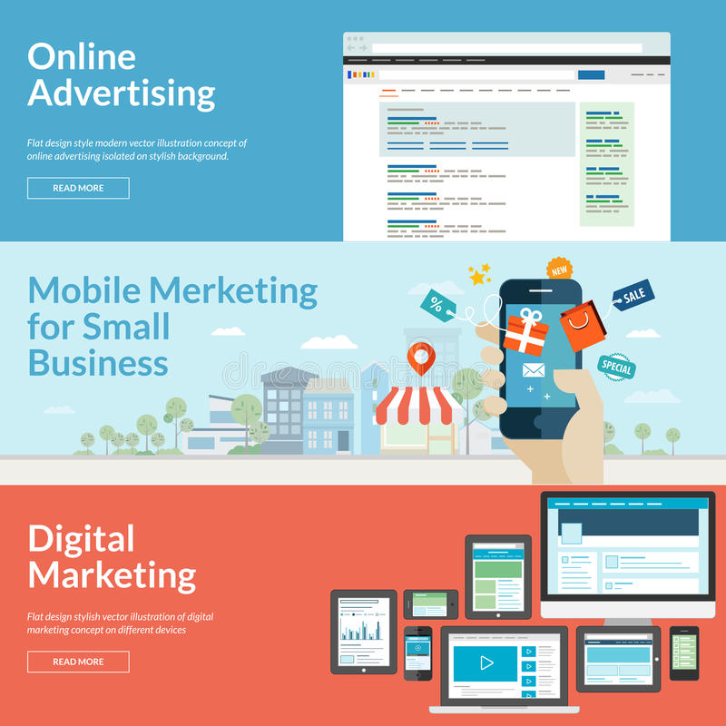 Grupo de conceitos de projeto lisos para a publicidade online ilustração stock