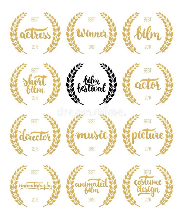 Grupo de concessões para o melhor filme, o ator, a atriz, o diretor, a música, a imagem, o vencedor e o filme curto com grinalda  ilustração royalty free